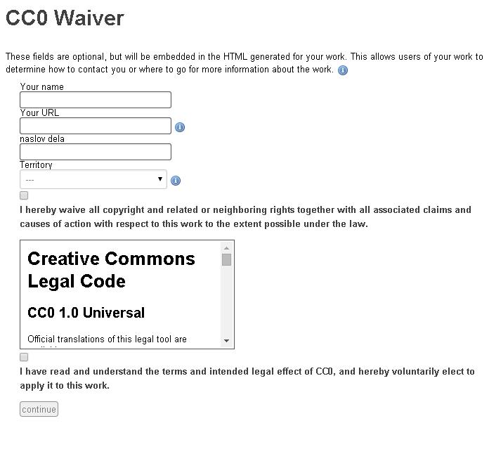 Povezava na orodje za označevanje s CC0